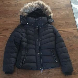 Jackets & Blazers - Black winter coat with faux fur hood